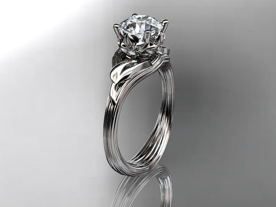 Platinum diamond flower, leaf and vine  wedding ring,engagement ring ADLR240 on Etsy, $1,150.00