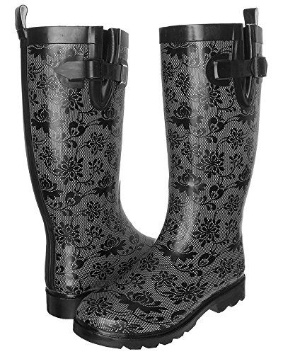 Capelli New York Floral Lace Ladies Tall Sporty Body Rubber Rain Boot Grey Combo 10 ** Visit the image link more details.(This is an Amazon affiliate link)