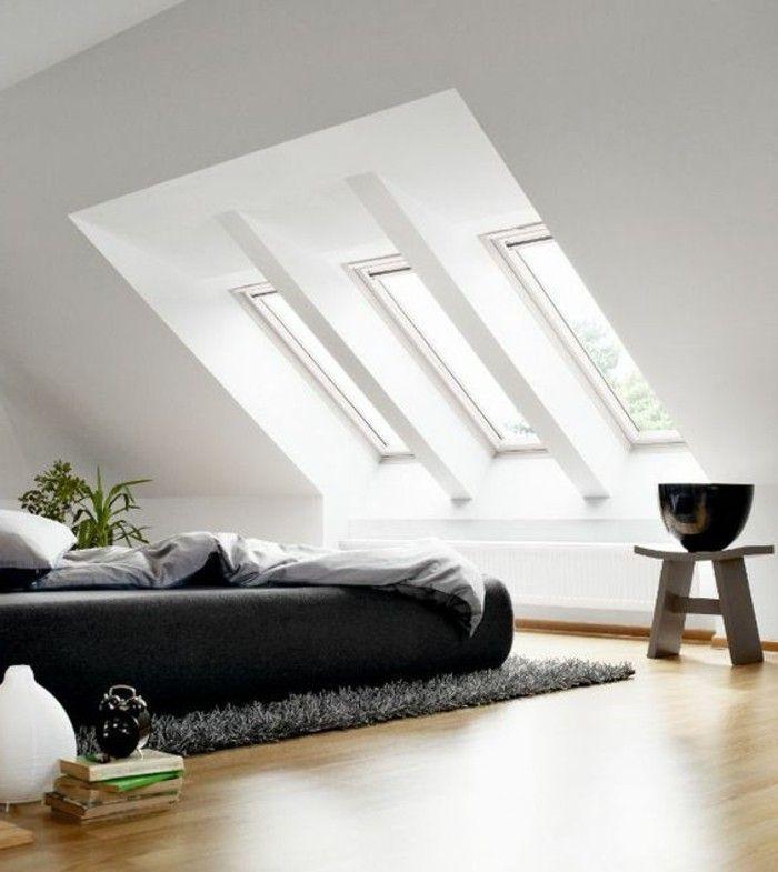 chambre à coucher chambre mansardée chambres dans les combles tapis noir lit double