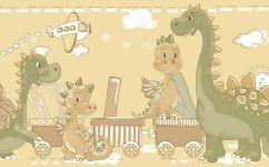 tapet bordura dinozauri verzi 2275