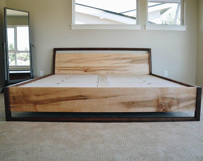 Walnut And Figured Maple Storage Bed Platform Bed Slanted