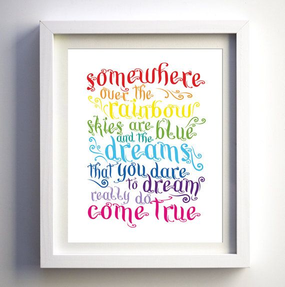 Somewhere Over The Rainbow Song Print Bright by FancyPrintsforHome