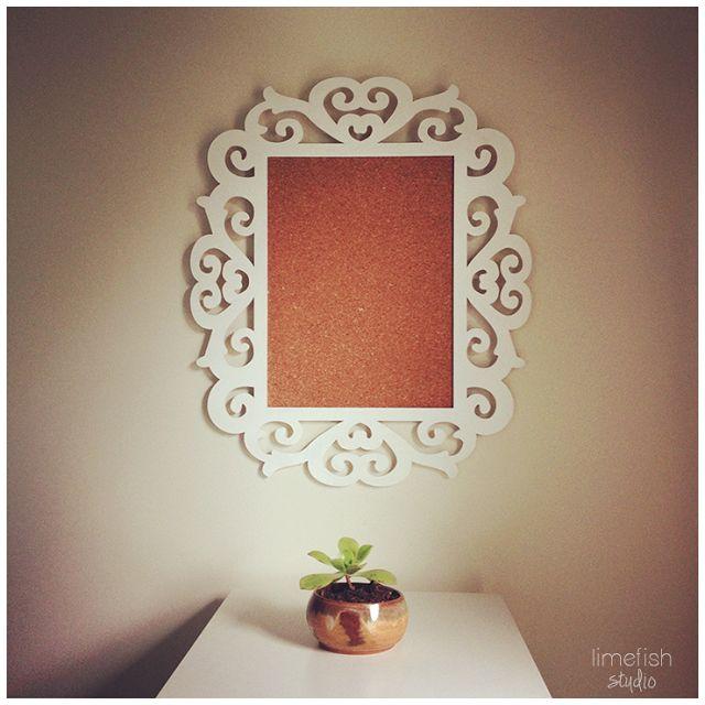 DIY Fancy Frame Cork Board © Limefish Studio | Art Studio Decor
