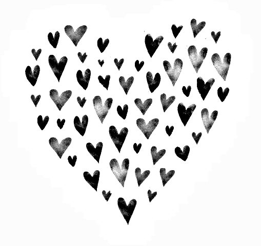 Black and white hearts.