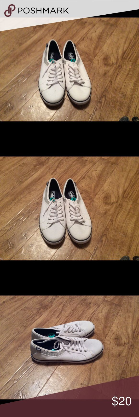 Tennis shoes White and blue Keds tennis shoes never worn Keds Shoes Sneakers