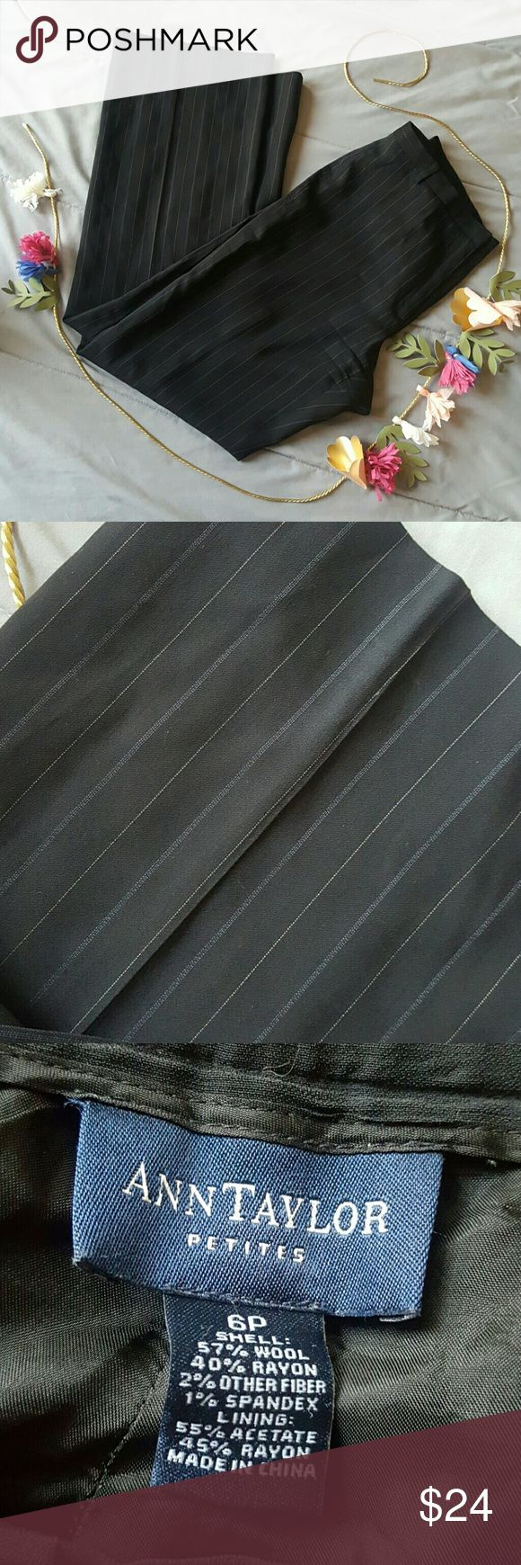 Ann Taylor The Petite Trouser size 6 Pin striped, black wth navy blue and white  Dress pants 6P - petite  Ann Taylor Ann Taylor Pants Trousers