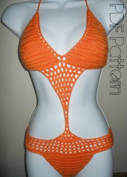 Crochet Monokini PatternCrochet SwimwearPFD Pattern by GuChet, $5.00- its cute i'd want one in pink