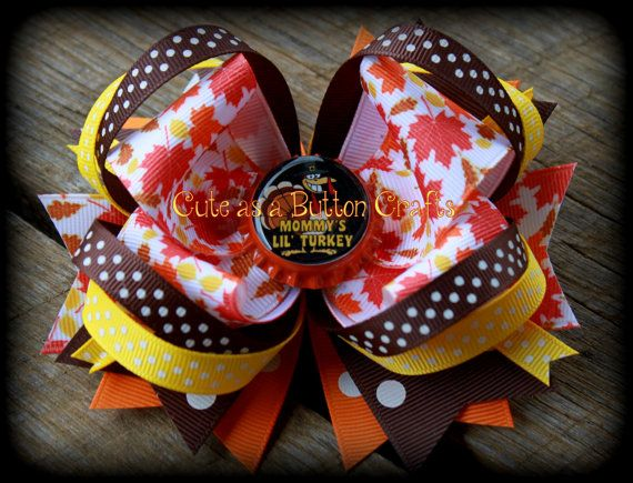 Thanksgiving hair bow mommys little turkey bottlecap boutique bow on Etsy, $7.00