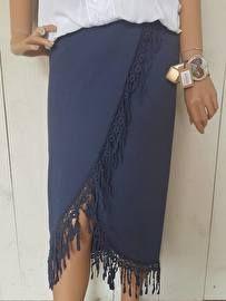 Marine blauwe lange franje rok