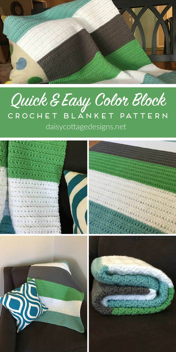 Quick And Easy Color Block Crochet Blanket By Lauren - Free Crochet Pattern - (daisycottagedesigns)