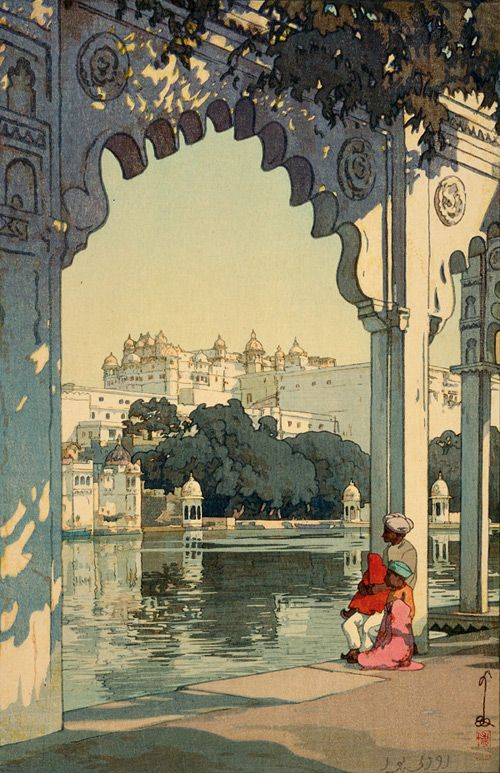 Udaipur, 1931.  by Yoshida Hiroshi  Yoshida Hiroshi apparently toured the world and produced some beautiful woodcuts.  This, as you see, is Udaipur in India.  If you click to go to the source you will see some truly splendid works.