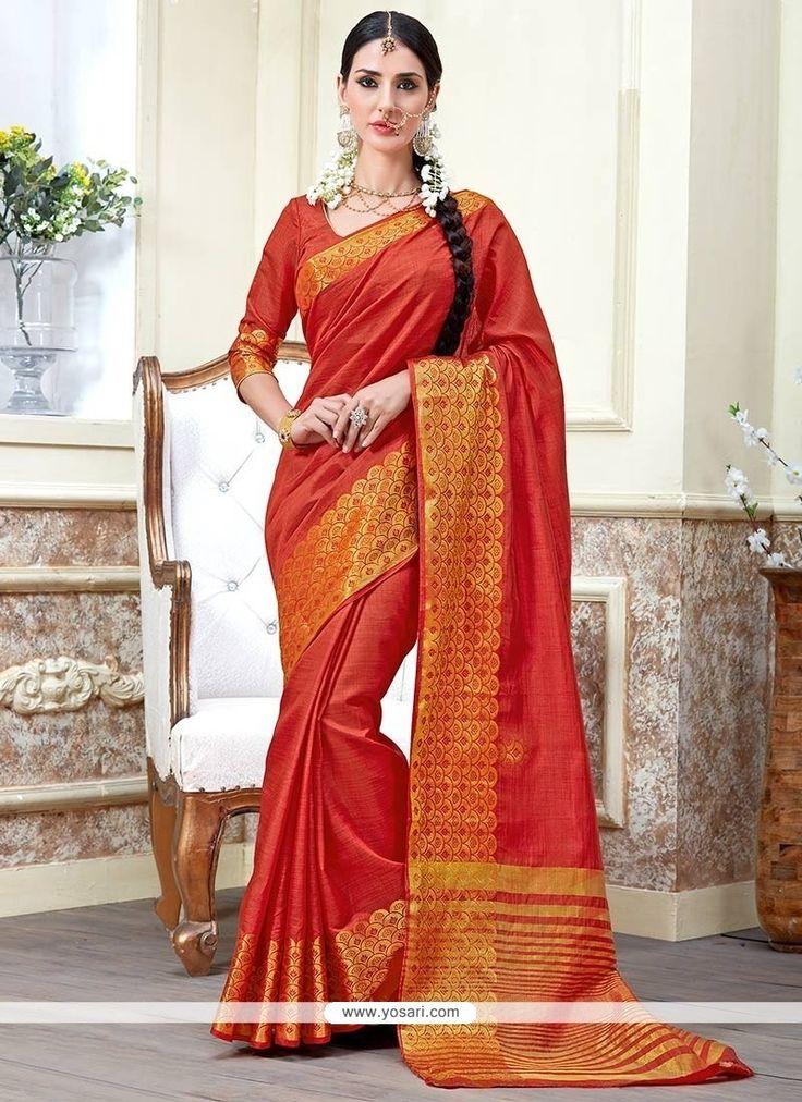 Hypnotic Tussar Silk Red Traditional  Saree Model: YOSAR8414