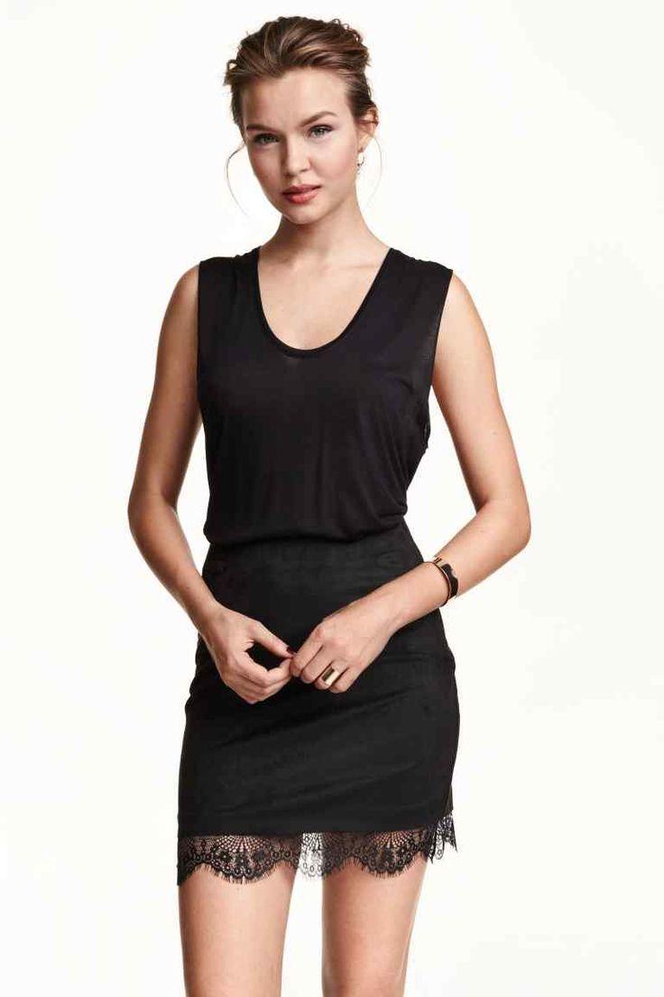 Spódnica z koronkowym brzegiem | H&M