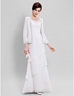 Lanting Bride® Fourreau / Colonne Grande Taille / Petite Robe de Mère de Mariée - Etole Incluse Longueur Sol Manches longuesMousseline