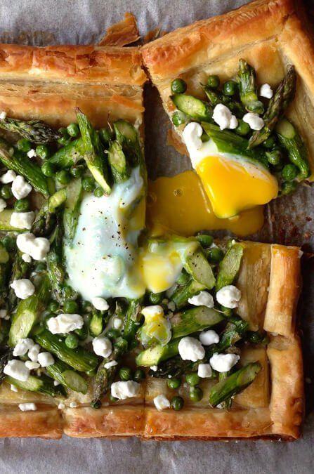 Make the most of store-bought puff pastry with this breakfast tart recipe starring asparagus, eggs and goat cheese.