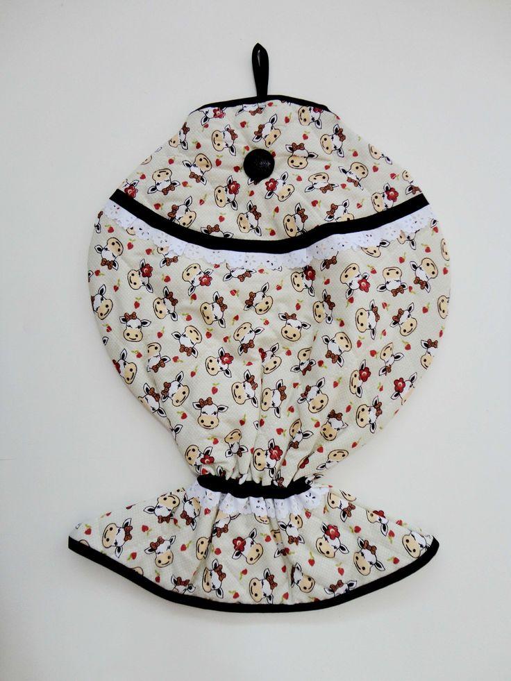 PUXA SACO PEIXE <br> <br>Medida ? 45cmx32cm <br> <br>Tecido 100% algodão matelado <br>Um modelo diferenciado e super criativo <br>fica super bacana em sua cozinha ou lavanderia.