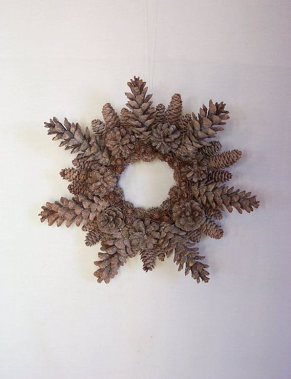 Pinecone snowflake Wreath - perfect with those pine cones dipped in white paint!