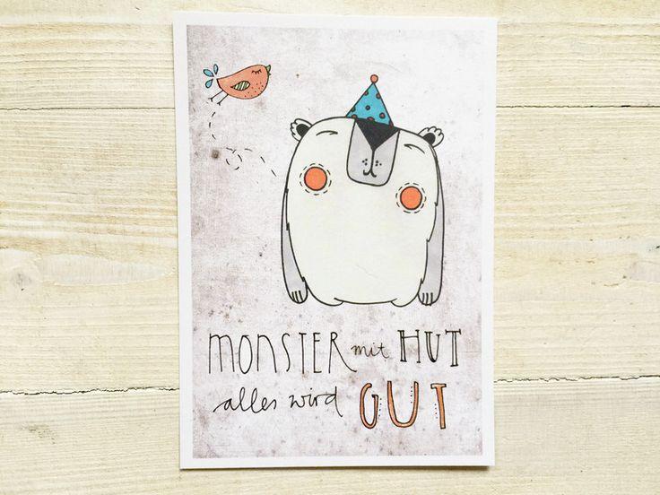 """Liebe & Freundschaft - 3x Postkarte """"Monster mit Hut"""" - ein Designerstück von tigapigs bei DaWanda"""