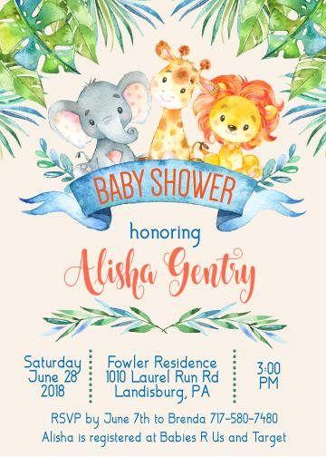 Safari invitaciones de la ducha de bebé  selva invitaciones
