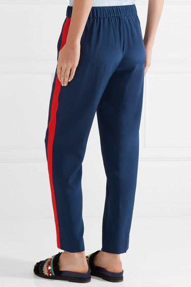 Tory Burch - Desmond Striped Silk Crepe De Chine Tapered Pants - Navy - US