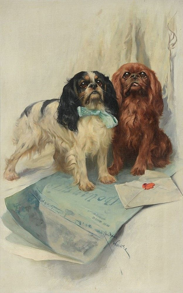 Arthur Wardle (1864-1949) - A portrait of two Cavalier King Charles Spaniels.