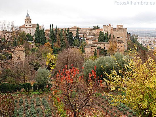 The Alhambra was so called because of its reddish walls (in Arabic, («qa'lat al-Hamra'» means Red Castle). It is located on top of the hill al-Sabika, on the left bank of the river Darro, to the west of the city of Granada, Spain.
