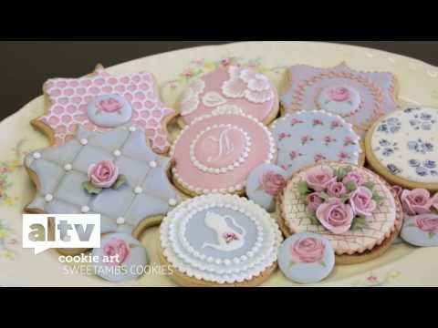 """Cath Kidston"" Style Roses - Edible Painting On Cakes & Cookies Tutorial - YouTube"