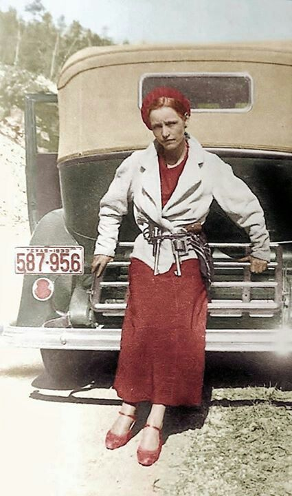 "Bonnie Elizabeth Parker (October 1, 1910 – May 23, 1934). American outlaw and thief from the Dallas area who traveled the central United States with their gang during the Great Depression. At times, the gang included Buck Barrow, Blanche Barrow, Raymond Hamilton, W. D. Jones, Joe Palmer, Ralph Fults, and Henry Methvin. Bonny & Clyde's exploits captured the attention of the American public during the ""Public Enemy Era"", between 1931 and 1935"
