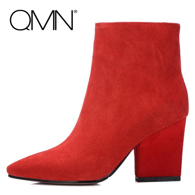 QMN натуральная кожа женщины ботильоны Женщины Черный Красный Замшевые Сапоги Зимние Ботинки Обувь Женщина Пинетки Botas Размер 34-39