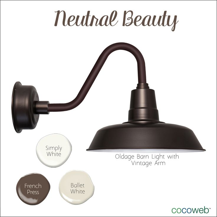 Fall in love with earth tones and Neutral Beauty. Our Mahogany Bronze Oldage Barn Light is a popular choice for a modern take on a rustic look. Paired with Simply White, French Press, and Ballet White, you'll have the perfect cozy cottage.