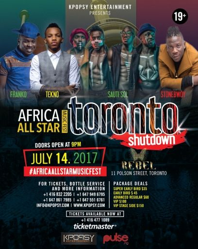Biggest African Event To Attend On 14 July   The worlds biggest Afrobeat and Afropop superstars will be shutting down Toronto this summer at the much anticipated AFRICA All Star Music Fest inside premier entertainment hot spot REBEL (formerly known as Sound Academy) at 11 Polson St. Toronto on Friday July 14 2017 powered by  Kpopsy Entertainment Inc.  G-News