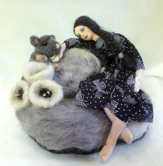 Reflection - cloth doll needlefelt sculpture