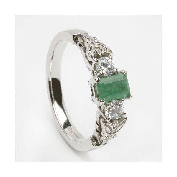 18K White Gold Diamond & Emerald Engagement Ring: Irish