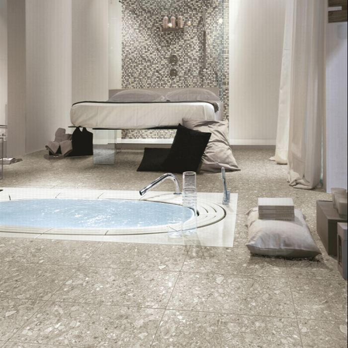 Retro Taupe Terrazzo Porcelain Tiles from Italian Tile and Stone Dublin