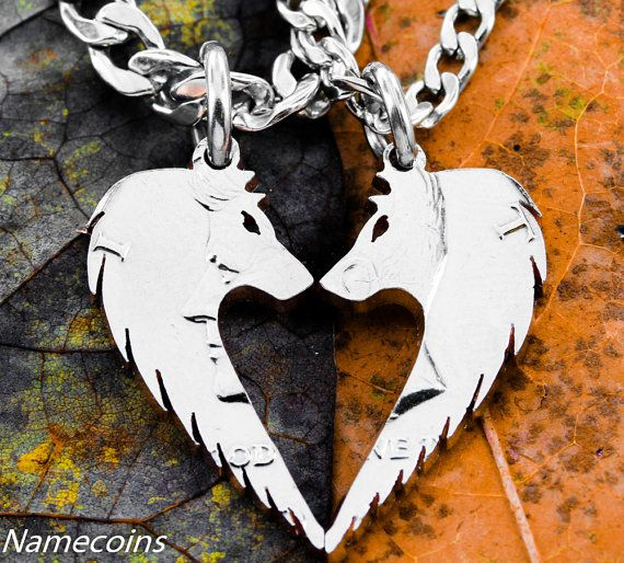 Wolf Necklace Set Wolves making Heart Relationship by NameCoins