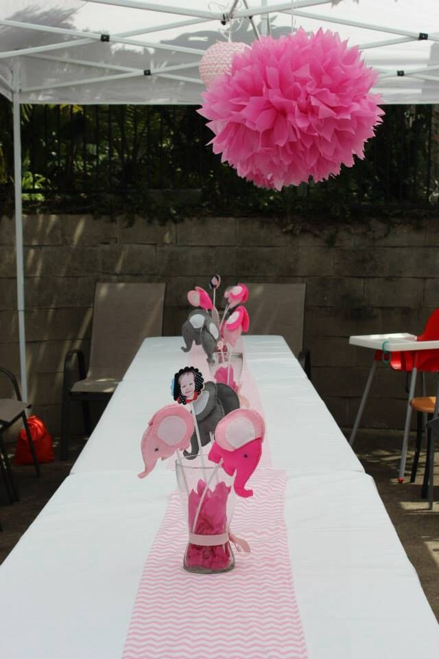 Table Decorations Elephant Pink Chevron 1st Birthday Party