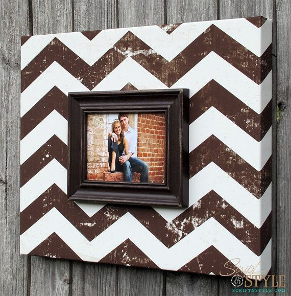 Chevron Picture Frame Canvas in Brown & Cream, Chevron Picture Frame, Vintage Distressed Chevron Frame, Holds 5x7 Photo