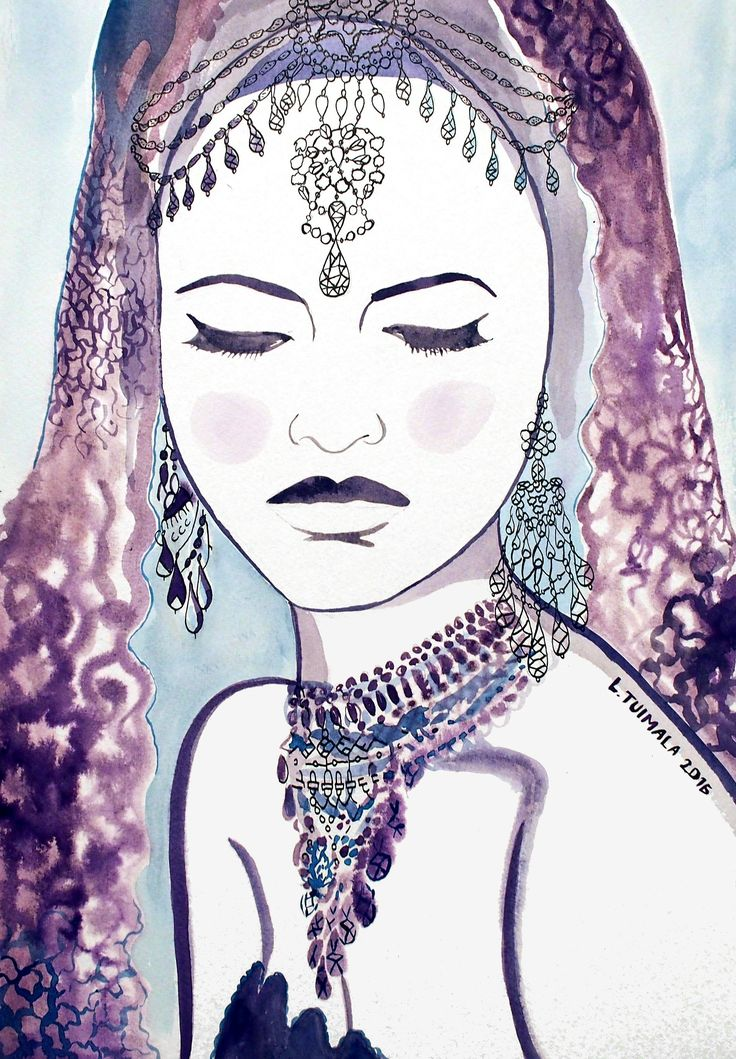 """""""Bored princess"""". Daydreaming is her only pastime. Original painting by L. Tuimala. #art #watercolor #ink"""