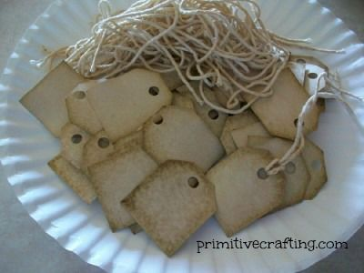 Coffee stained tags. Primitive craft.