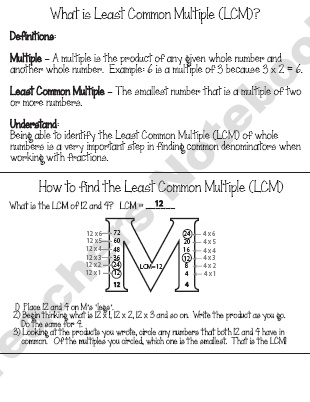 Mrs-Bs-Best Shop -Finding the Least Common Multiple (LCM) Pack   | Teachers Notebook