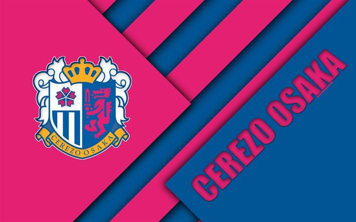 Download wallpapers Cerezo Osaka FC, 4K, material design, Japanese football club, pink blue abstraction, logo, Osaka, Japan, J1 League, Japan Professional Football League, J-League