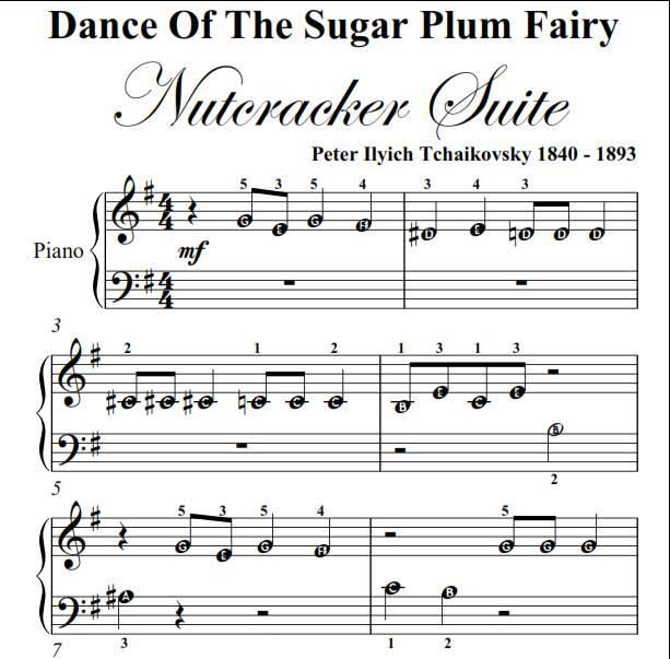 Dance of the Sugar Plum Fairy Nutcracker Beginner Piano Sheet Music PDF - 1