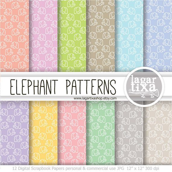 Carta Digitale Basica Elefanti Sfondi carta digitale sfondi digitali pastello rosa giallo grigio teal menta verde beige viola corallo