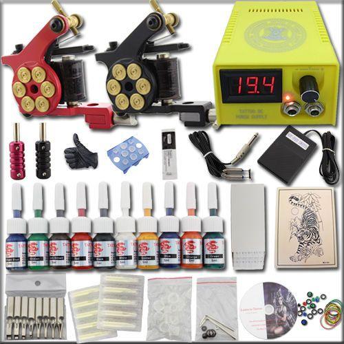 Neu Komplett Set Kit 2 Gun TattooMaschine Tätowier maschine 10 Farben Netzgerät