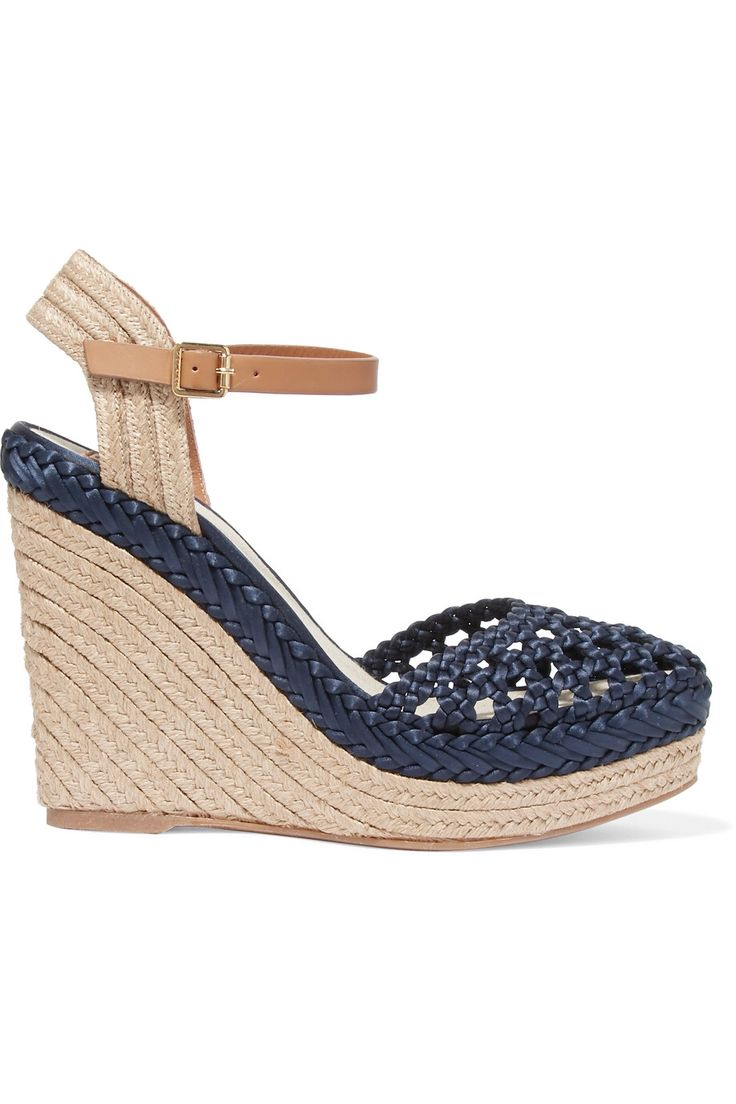 TORY BURCH SOLEMAR LEATHER-TRIMMED WOVEN SATIN WEDGE SANDALS GBP112.50 http://www.theoutnet.com/product/870209