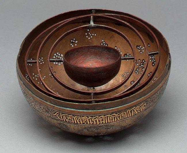 Pierced globe Incense Burner, Mamluk period (1250–1517), late 13th–early 14th century Syria, Damascus. British Museum.