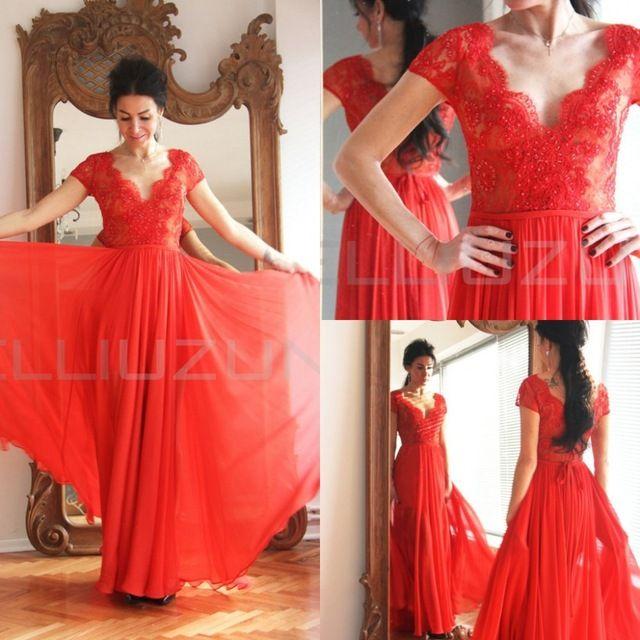 Rojo Maxi abrir volver vestidos noche bajas manga corta Aline barrido tren gasa de los plisados vestidos fiesta largo rojo vestidos de noche