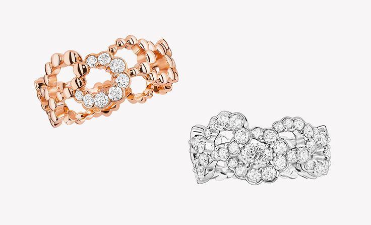 Кольца из розового и белого золота с бриллиантами