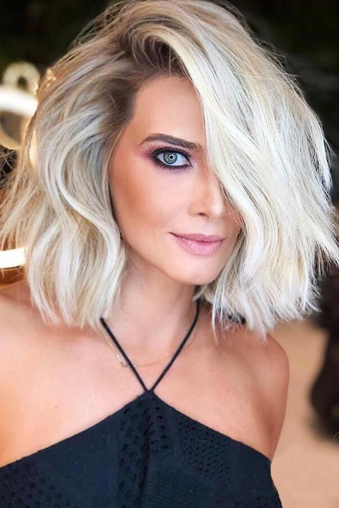 Pretty Short Messy Hairstyles For Round Faces #bob #blondehair #wavyhair ★ Short hairstyles for round faces are in trend! If you have blonde hair an...