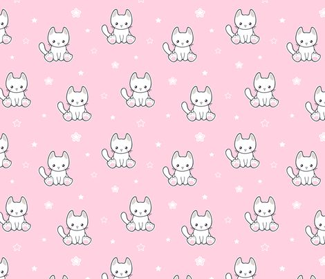 Cute kitty cat and stars fabric by nossisel on Spoonflower - custom fabric